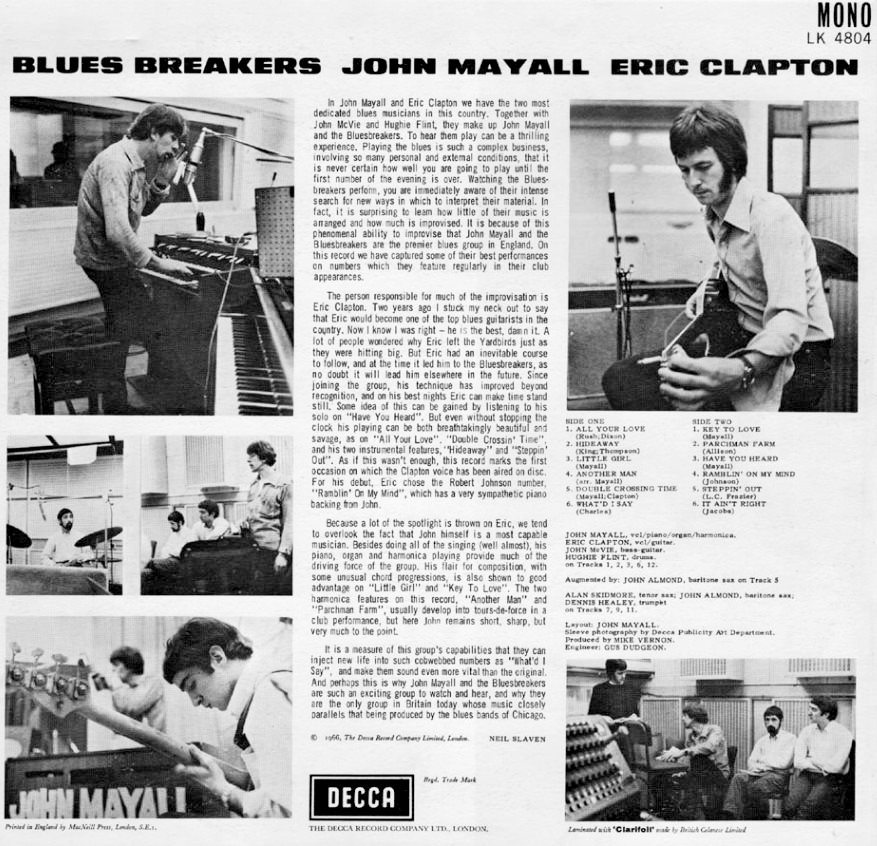 Eric Clapton with the Beano Burst on the top right. Image source - original vinyl sleeve.