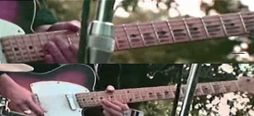 Eric Clapton playing the Telecaster during the 1969 concert at Hyde Park.