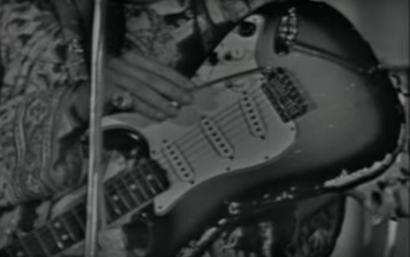 "jimi hendrix s guitars and gear a still from the video showing the scratch marks on the body of the stratocaster photo source jimi hendrix ""wild thing"" 1967 05 11"