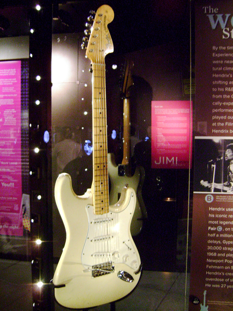 The Woodstock Stratocaster on display