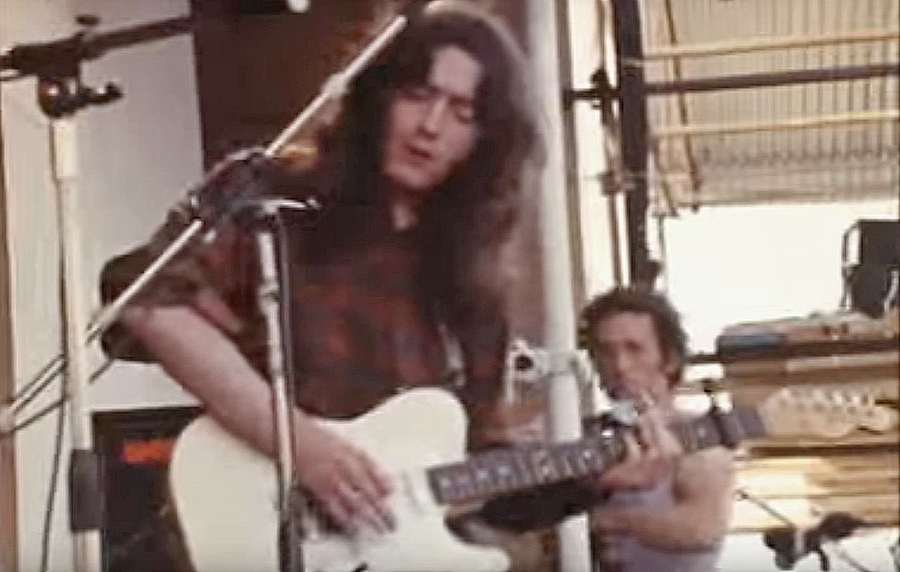 Rory playing the Telecaster during the Isle of Wight festival in 1970
