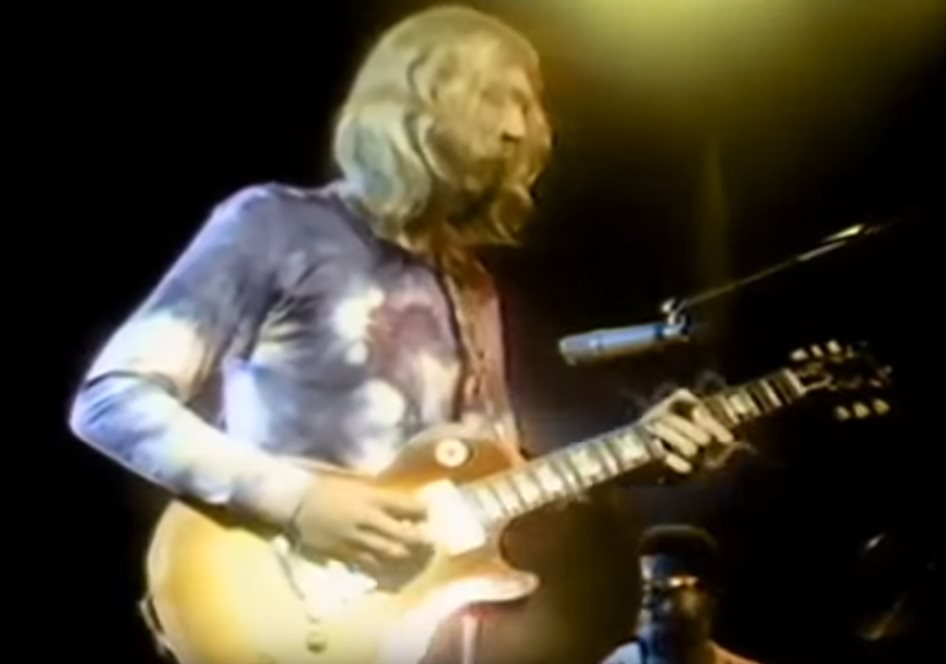 Duane can be seen playing the guitar at the Fillmore East on September 23rd 1970. Image source: YouTube