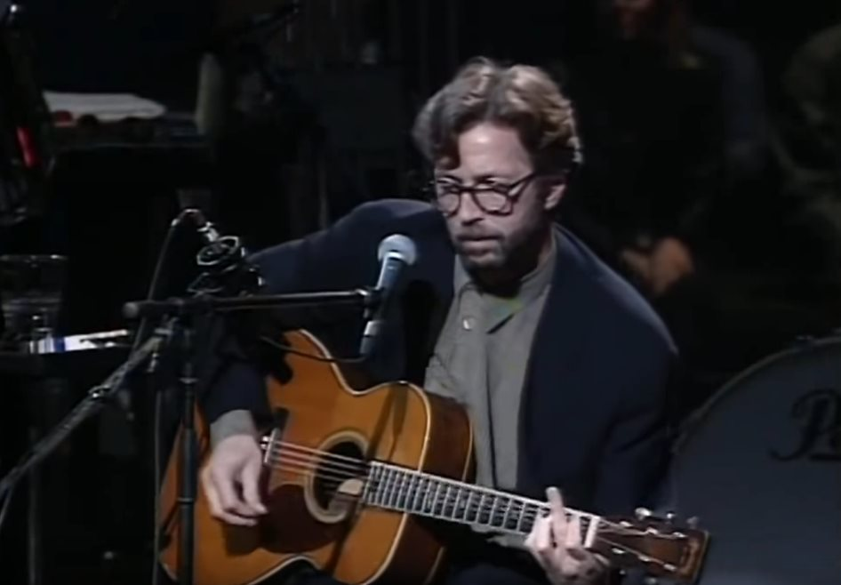 Eric Clapton playing a Martin 000-42 acoustic guitar during Layla